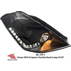 NISSAN FAIRLADY 350Z 2002 - 2009 EAGLE EYES Black Housing Starline LED Projector Head Lamp [HL-109-1]