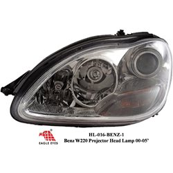 MERCEDES BENZ W220 S-Class 1999 - 2005: EAGLE EYES Chrome Projector Head Lamp [HL-016-BENZ-1]