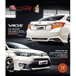 [TOYOTA VIOS 2013] EAGLE EYES Projector Head Lamp+Light Bar Tail Lamp
