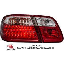 MERCEDES BENZ W210 E-Class 1995 - 2001 EAGLE EYES Red & Clear LED Tail Lamp Lights [TL-007-BENZ]