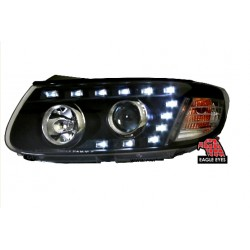EAGLE EYES Black Housing CCFL Projector Head Lamp: HYUNDAI SANTA FE [HL-126]