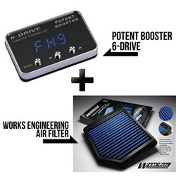 POTENT BOOSTER 6-Drive, 8-Drive, 9-Drive Throttle Controller Remapper + WORKS ENGINEERING Drop In Air Filter