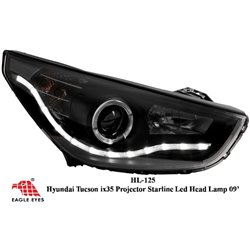 HYUNDAI TUCSON IX35 2010 - 2015 EAGLE EYES Black Housing CCFL LED Projector Head Lamp [HL-125]