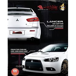 MITSUBISHI LANCER GT/ EVO X 10/ PROTON INSPIRA 2007 - 2015 EAGLE EYES LED Head Lamp and Light Bar Tail Lamp [HL-128 + TL-169-2]