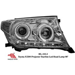 TOYOTA LAND CRUISER FJ200 2008 - 2015 EAGLE EYES Chrome Projector LED Starline Head Lamp [HL-110-3]