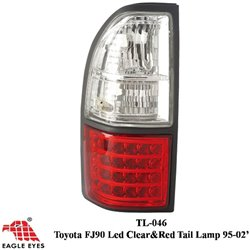 TOYOTA PRADO FJ90 1996 - 2002 EAGLE EYES Red Clear Black Rim LED Tail Lamp [TL-046]
