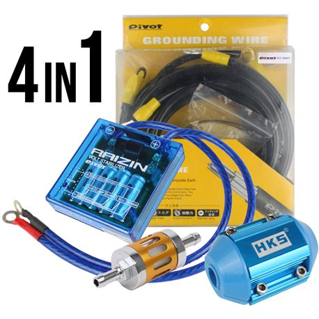 *4 in 1* PIVOT VS-1 Voltage Stabilizer + 5-Point Ground Cable, HKS Magnet Fuel Saver, HKS Air Power Plus Package