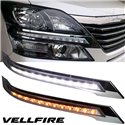 TOYOTA VELLFIRE ANH20 2008 - 2014 2 in 1 DRL LED Day Time Running Light + Signal Lamp (Chrome)