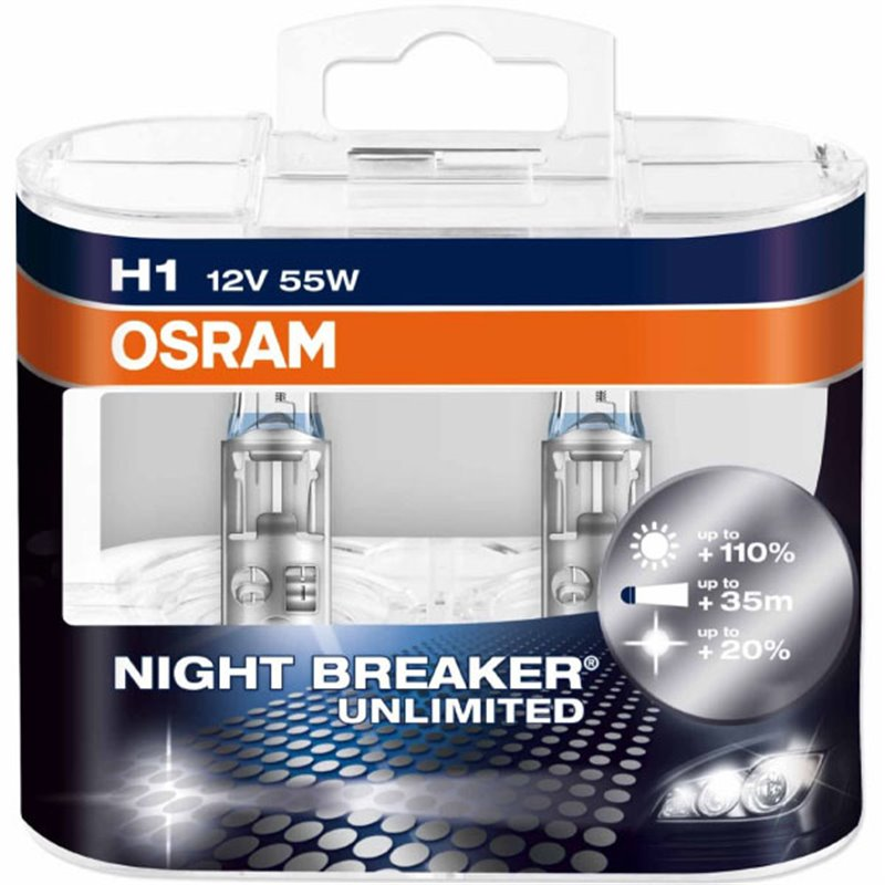OSRAM Night Breaker Unlimited H1 Headlight Bulbs 64150NBU-HCB Duo