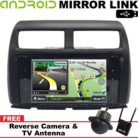 "PERODUA MYVI ICON 2015 - 2017 SKY 9"" Android Mirror Link Double Din GPS DVD MP3 CD USB SD BT TV Player Free Camera & TV Antenna"