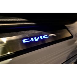 HONDA CIVIC FB 2012 - 2015 OEM Stainless Steel Blue LED Car Door Side Sill Garnish Scruff Step Plate