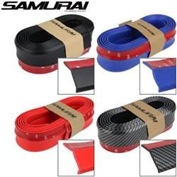 SAMURAI Rubber Skirt 3M 2.5 Meter Car Bumper Protector Strip Lips Diffuser [Black/ Red/ Blue/ Carbon Fiber]