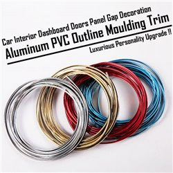 Universal Car Interior Dashboard Doors Panel Gap Decoration Aluminum PVC Outline Strip Lining Moulding Trim [5 Meter]