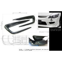 HONDA CIVIC FD/ FD2R 2006 - 2011 (TYPE-R Bumper Only) JS RACING Style Light Weight Real Carbon Fiber Air Duct Cover [FD C014]