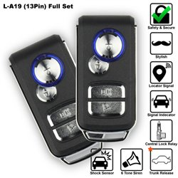 SKY 4-Button 13 Pin Full Set Multi Function Car Alarm System with Shock Sensor and Siren Made in Korea [L-A19-FULL]