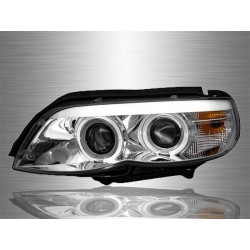 BMW E53 X5 Facelift 2003 - 2006 CCFE LED Ring Light Bar Chrome Housing Double Projector Head Lamp [HL-031-BMW]