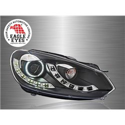 VOLKSWAGEN GOLF MK6 2008 - 2014 EAGLE EYES CCFE Ring LED Starline Projector Head Lamp [HL-136]