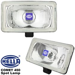 ORIGINAL HELLA COMET 450 Spot Lamp Fog Light (White) with H3 Halogen Bulb Made in Germany (Pair)