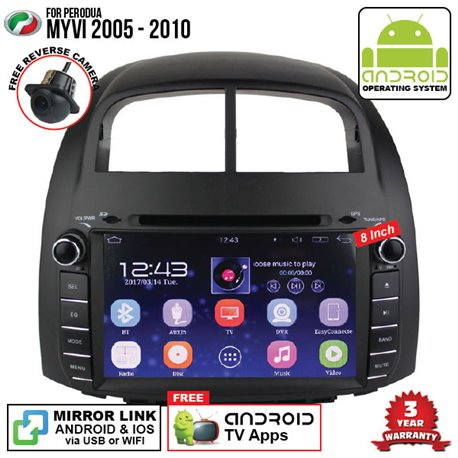 "PERODUA MYVI 2005 - 2010 SKY NAVI 8"" FULL ANDROID Double Din GPS DVD CD USB SD BLUETOOTH IOS Mirror Link Player"