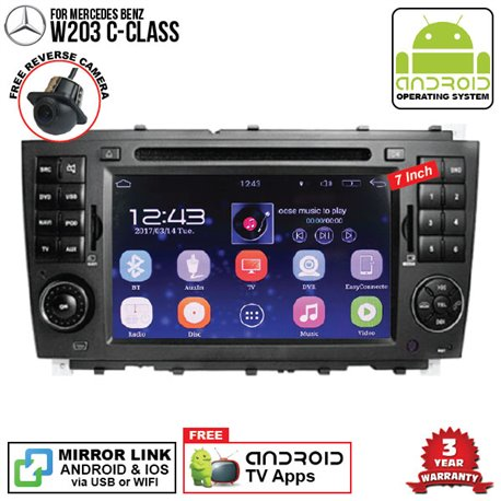 "MERCEDES BENZ W203 C-CLASS 2006 - 2008 SKY NAVI 7"" FULL ANDROID Double Din GPS DVD CD USB SD BLUETOOTH IOS Mirror Link Player"