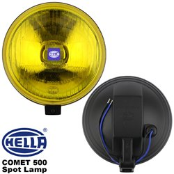 ORIGINAL HELLA COMET 500 Round Spot Lamp Fog Light (Yellow) with H3 Halogen Bulb Made in Germany (Pair)