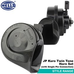 ORIGINAL HELLA JP Kuro Black Twin Tone 12V Style Range Car Vehicle Horn Set (with Single Pin Connector)