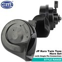 ORIGINAL HELLA JP Kuro Black Twin Tone 12V Style Range Car Vehicle Horn Set for All Toyota Cars Only (with Single Pin Connector)