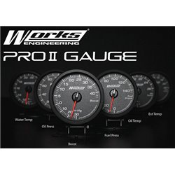 WORKS ENGINEERING PRO II Gauge w Flickering LED (Water Temp, Oil Temp, Oil Pres, Fuel Pres, Boost, Exhaust Temp)