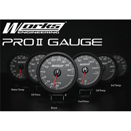 Buy WORKS ENGINEERING PRO II Gauge with Warning flickering LED (Water Temp,  Oil Temp, Oil Pres, Fuel Pres, Boost, Exhaust Temp)
