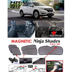 HONDA HRV/ VEZEL/ XRV 2014 - 2017 NINJA SHADES UV Proof Custom Fit Car Door Window Magnetic Sun Shades (5pcs)