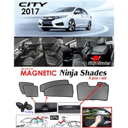 HONDA CITY GM6 2014 - 2017 NINJA SHADES UV Proof Custom Fit Car Door Window Magnetic Sun Shades (5pcs)