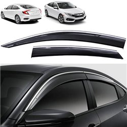HONDA CIVIC FC 2016 - 2017 Premium Stainless Steel Chrome Lining Anti UV Light Door Visor with Clip (S1)