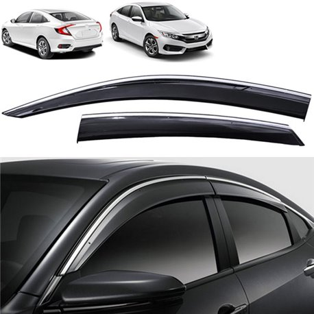 HONDA CIVIC FC 2016 - 2017 Premium Stainless Steel Chrome Lining Anti UV Light Door Visor : honda door - pezcame.com