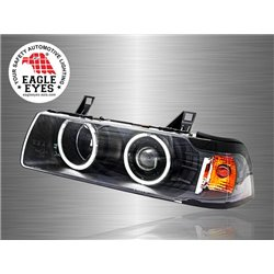 BMW E36 3-Series 4 Door 1990 - 1998 EAGLE EYES CCFL LED Light Ring Projector Head Lamp [HL-018-BMW-1]