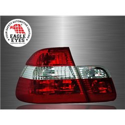 BMW E46 3-Series 4 Door 1998 - 2001 EAGLE EYES Red Clear Lens Crystal Tail Lamp [TL-002-BMW]