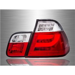 BMW E46 3-Series 4 Door 1998 - 2001 Red Clear Lens LED Light Bar Tail Lamp [TL-033-BMW]