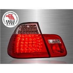 BMW E46 3-Series 4 Door 1998 - 2001 EAGLE EYES Red Clear Lens LED Tail Lamp [TL-063-BMW-1]