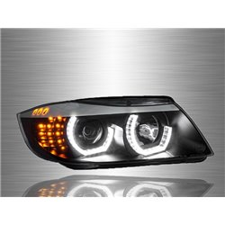 BMW E90 3-Series 2004 - 2008 3D LED Angle Eyes Projector Head Lamp [HL-028-BMW]
