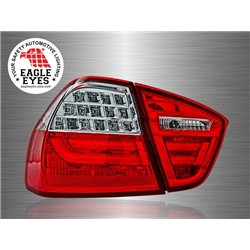 BMW E90 3-Series 4 Door 2004 - 2008 EAGLE EYES Red Clear LED Light Bar Tail Lamp [TL-022-BMW-2]