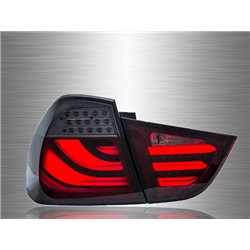 BMW E90 3-Series 4 Door 2009 - 2013 Red Smoke LED Light Bar Tail Lamp [TL-068-BMW]