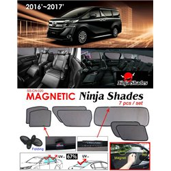 TOYOTA ALPHARD/ VELLFIRE ANH30 2015 - 2017 NINJA SHADES UV Proof Custom Fit Car Door Window Magnetic Sun Shades (7pcs)