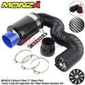 "MONZA 3"" Carbon Fiber Universal Fit Open Port Turbo Cold Air Injection Air Filter Intake System Kit"