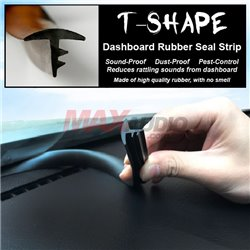 T-Shape Car Dashboard Interior Rubber Seal Trim Strip Sound Proof Insulation (1.6 Meter)