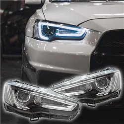 MITSUBISHI LANCER GT/ Sportback/ PROTON INSPIRA 2007 - 2017 SONAR LED Light Bar Sequential Projector Head Lamp (AUDI A5 Style)