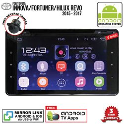 "TOYOTA INNOVA/ FORTUNER/ HILUX REVO 2015 - 2017 SKY NAVI 9"" FULL ANDROID Double Din GPS DVD USB SD BT IOS Mirror Link Player"