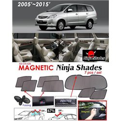 TOYOTA INNOVA 2004 - 2014 NINJA SHADES UV Proof Custom Fit Car Door Window Magnetic Sun Shades (7pcs)