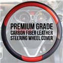 "Premium Quality TGR Carbon and Micro Fiber Leather Steering Wheel Cover (15"")"