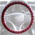 "Luxury Style Smooth Fur Skin Red Black Steering Wheel Cover Made In Korea (15"")"