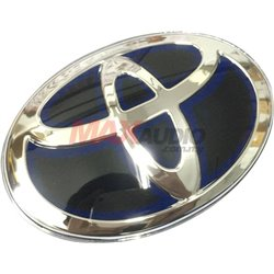GENUINE TOYOTA Front or Rear Hybrid Premium Chrome Black with Blue Inner Shadow Logo Emblem (6 Size Available)