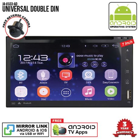 "UNIVERSAL SKY NAVI 7"" FULL ANDROID Double Din GPS DVD CD USB SD BLUETOOTH IOS Mirror Link Player"